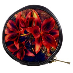 Red Lillies Bloom Flower Plant Mini Makeup Bag