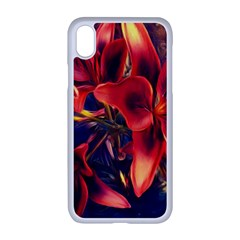 Red Lillies Bloom Flower Plant Apple Iphone Xr Seamless Case (white)