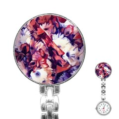 Flowers Bouquets Vintage Pop Art Stainless Steel Nurses Watch