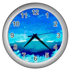 Blue Sky Artwork Drawing Painting Wall Clock (silver)