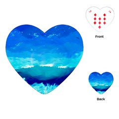 Blue Sky Artwork Drawing Painting Playing Cards (heart)