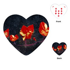 Grunge Floral Collage Design Playing Cards (heart) by dflcprintsclothing