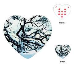 Tree Winter Blue Snow Cold Scene Playing Cards (heart)