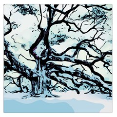 Tree Winter Blue Snow Cold Scene Large Satin Scarf (square) by Pakrebo