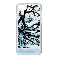 Tree Winter Blue Snow Cold Scene Apple Iphone 8 Seamless Case (white)