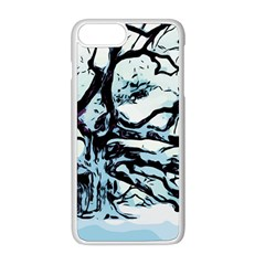 Tree Winter Blue Snow Cold Scene Apple Iphone 8 Plus Seamless Case (white)