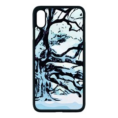 Tree Winter Blue Snow Cold Scene Apple Iphone Xs Max Seamless Case (black)