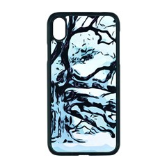 Tree Winter Blue Snow Cold Scene Apple Iphone Xr Seamless Case (black)