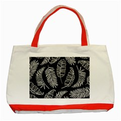 Black And White Tropical Leaves Classic Tote Bag (red) by goljakoff