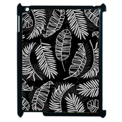 Black And White Tropical Leaves Apple Ipad 2 Case (black) by goljakoff