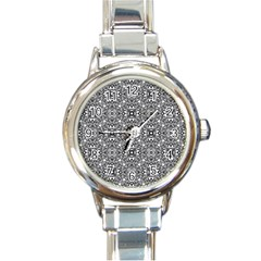 Black White Geometric Background Round Italian Charm Watch