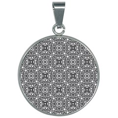Black White Geometric Background 30mm Round Necklace