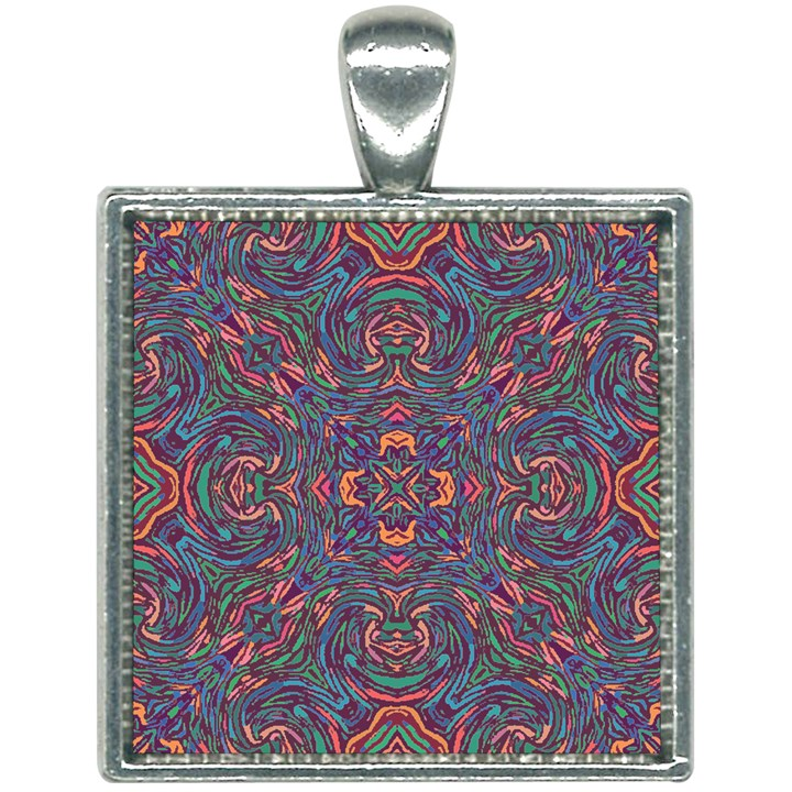 Tile Repeating Colors Texture Square Necklace
