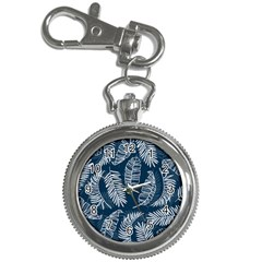 Blue And White Tropical Leaves Key Chain Watches by goljakoff