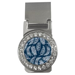 Blue And White Tropical Leaves Money Clips (cz)  by goljakoff
