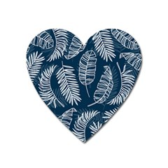 Blue And White Tropical Leaves Heart Magnet by goljakoff