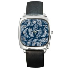 Blue And White Tropical Leaves Square Metal Watch by goljakoff