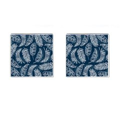 Blue And White Tropical Leaves Cufflinks (square) by goljakoff