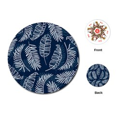 Blue And White Tropical Leaves Playing Cards (round) by goljakoff