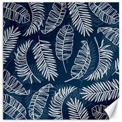Blue And White Tropical Leaves Canvas 12  X 12  by goljakoff