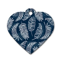 Blue And White Tropical Leaves Dog Tag Heart (two Sides) by goljakoff
