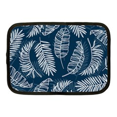 Blue And White Tropical Leaves Netbook Case (medium) by goljakoff