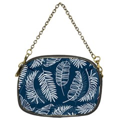 Blue And White Tropical Leaves Chain Purse (two Sides) by goljakoff