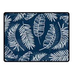 Blue And White Tropical Leaves Fleece Blanket (small) by goljakoff