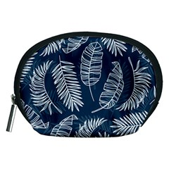 Blue And White Tropical Leaves Accessory Pouch (medium) by goljakoff