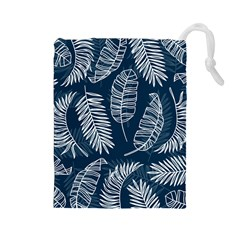 Blue And White Tropical Leaves Drawstring Pouch (large) by goljakoff