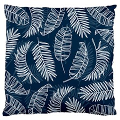 Blue And White Tropical Leaves Large Flano Cushion Case (one Side) by goljakoff