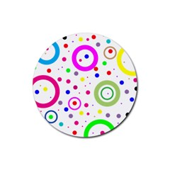 Round Abstract Design Rubber Round Coaster (4 Pack)