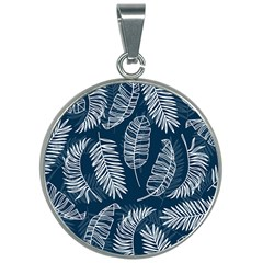 Blue And White Tropical Leaves 30mm Round Necklace by goljakoff