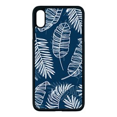 Blue And White Tropical Leaves Apple Iphone Xs Max Seamless Case (black) by goljakoff