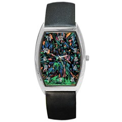 Tree Forest Abstract Forrest Barrel Style Metal Watch