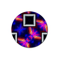 Box Abstract Frame Square Rubber Round Coaster (4 Pack)