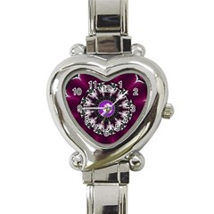Kaleidoscope Round Circle Geometry Heart Italian Charm Watch by Pakrebo