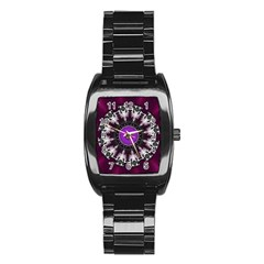 Kaleidoscope Round Circle Geometry Stainless Steel Barrel Watch