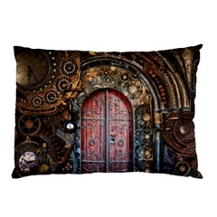 Steampunk Gears Pipes Brass Door Pillow Case (two Sides)