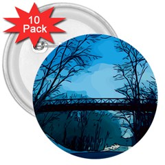 Bridge Trees Walking Nature Road 3  Buttons (10 Pack)