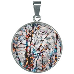 Forest Abstract Artwork Colorful 30mm Round Necklace by Pakrebo