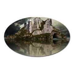 Sea Fortress Lake Reflection Sky Oval Magnet