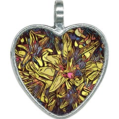 Lilies Abstract Flowers Nature Heart Necklace by Pakrebo