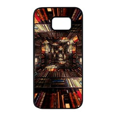 Library Tunnel Books Stacks Samsung Galaxy S7 Edge Black Seamless Case