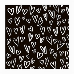 White Hearts - Black Background Medium Glasses Cloth by alllovelyideas