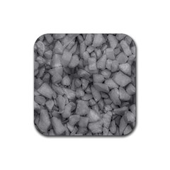 Soft Gray Stone Pattern Texture Design Rubber Coaster (square)  by dflcprintsclothing