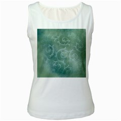 Background Green Structure Texture Women s White Tank Top