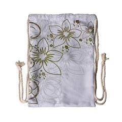 Flowers Background Leaf Leaves Drawstring Bag (small)