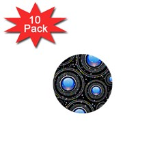 Abstract Glossy Blue 1  Mini Buttons (10 Pack)