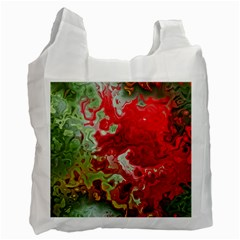 Abstract Stain Red Seamless Recycle Bag (one Side)